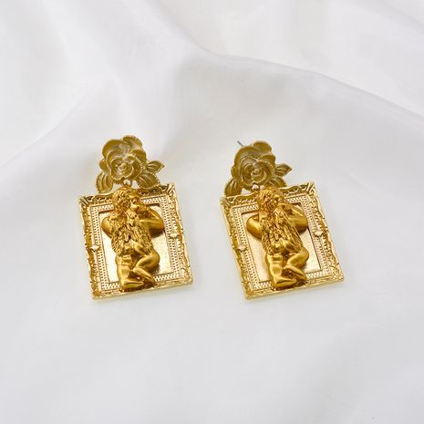 Angel earrings Korean temperament fashion angel frame retro earrings first face thin new tide earrings wholesale nihaojewelry NHNT221243's discount tags