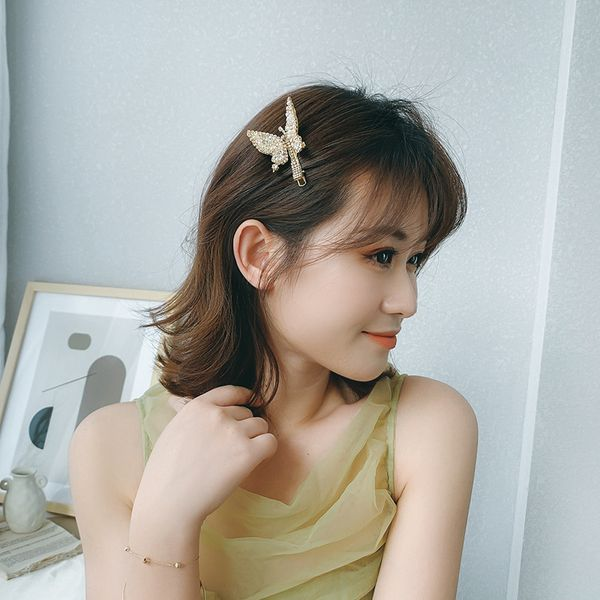 Butterfly hairpin wings will move nostalgic fairy side clip rhinestone hairpin Korean adult hair jewelry diamond wholesale nihaojewelry NHNT221246