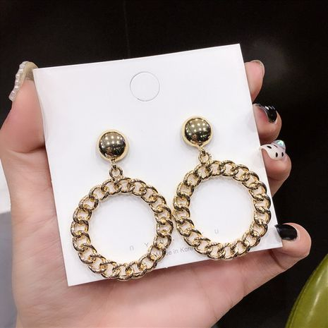 Design sense earrings retro temperament personality simple circle chain tide fashionable gold earrings wholesale nihaojewelry NHNT221247's discount tags