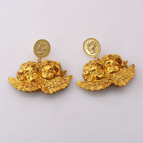 Boucles d'oreilles amusantes niche Baroque Cupidon tir à l'arc ange rétro boucles d'oreilles exagérées personnalité boucles d'oreilles en gros nihaojewelry NHNT221248's discount tags
