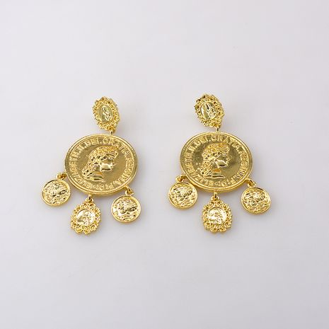 Korean fashion exaggerated large earrings retro palace style coin ring flower earrings accessories wholesale nihaojewelry NHNT221250's discount tags