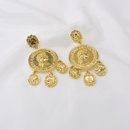 Korean fashion exaggerated large earrings retro palace style coin ring flower earrings accessories wholesale nihaojewelry NHNT221250
