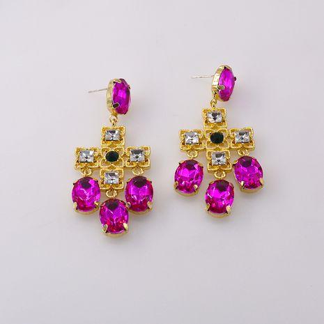populaire exagéré mixte couleur verre croix rose rétro gland boucles d'oreilles boho boucles d'oreilles en gros nihaojewelry NHNT221253's discount tags