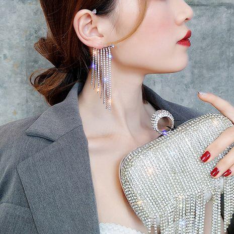 exaggerated fashion long tassel earless earrings super flash diamonds sexy street shot single earring wholesale nihaojewelry NHNT221255's discount tags