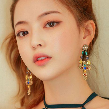 Retro temperament asymmetric pearl cross tassel earrings long Baroque earrings wholesale nihaojewelry NHNT221256's discount tags