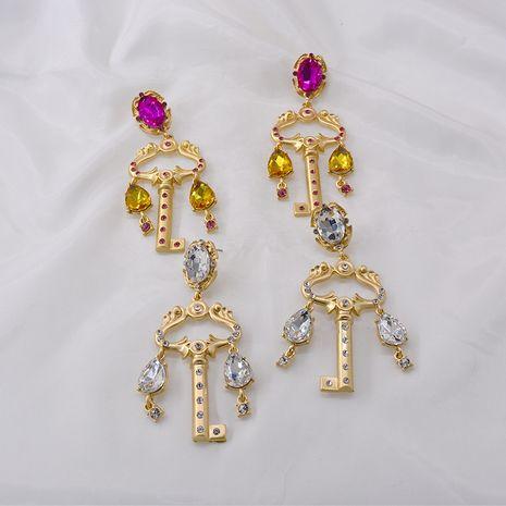 Baroque long crystal rhinestone gem retro earrings fashion baroque key crystal personality earrings wholesale nihaojewelry NHNT221257's discount tags