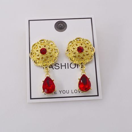 Palace retro ruby drop zircon earrings long earrings bridal earrings temperament earrings holiday style wholesale nihaojewelry NHNT221260's discount tags