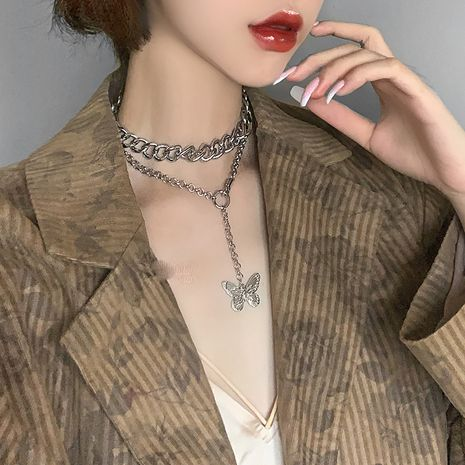 new fashion exaggerated thick chain butterfly necklace personality double neck chain hip hop pendant short clavicle chain wholesale nihaojewelry NHNT221262's discount tags
