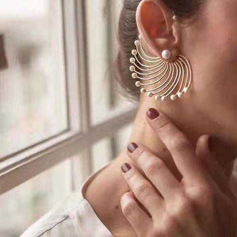 personality fan-shaped exaggerated earrings geometric artificial pearl wild earrings tide people big circle earrings wholesale nihaojewelry NHNT221264's discount tags