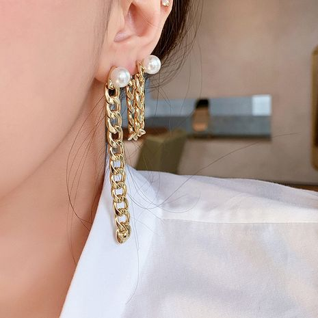 freshwater pearl earrings fashion personality temperament water drop zircon rear hanging earrings wholesale nihaojewelry NHNT221268's discount tags