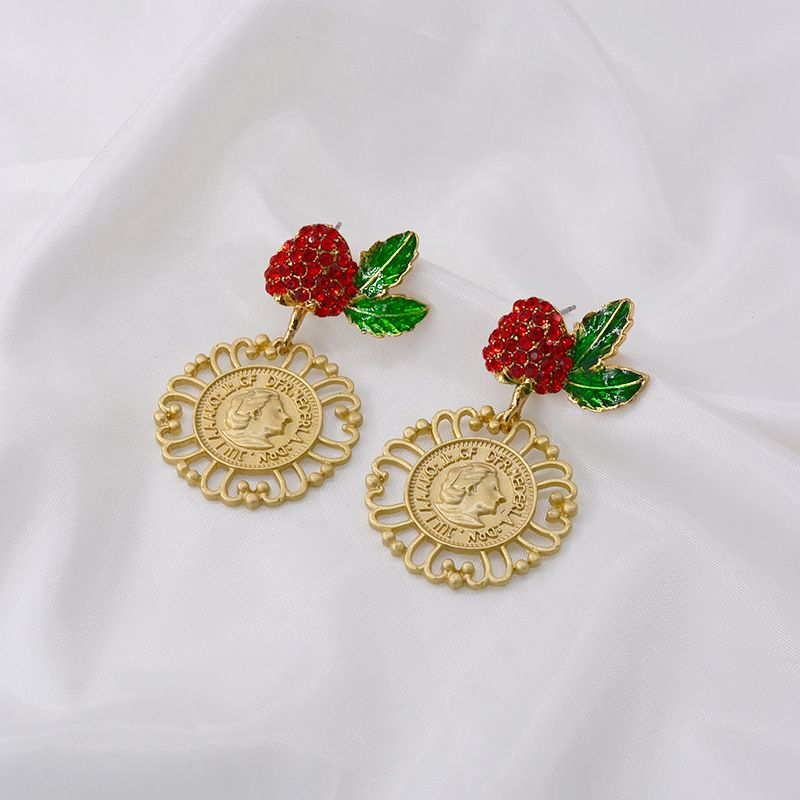 Baroque red cherry strawberry earrings new wave simple coin portrait earrings wholesale nihaojewelry NHNT221270