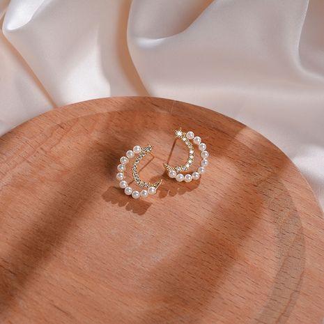 Boucles d'oreilles lune fille coeur exquis boucles d'oreilles perle super fée boucles d'oreilles diamant doux sauvage en gros nihaojewelry NHWF221271's discount tags