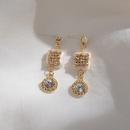 Irregular geometric earrings natural motherofpearl square diamond earrings wild round zircon earrings 925 silver wholesale nihaojewelry NHWF221280