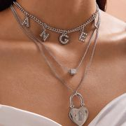 bijoux de mode créatif dés géométrique collier mélanger et assortir simple ange lettre en forme de coeur serrure collier en gros nihaojewelry NHXR221321