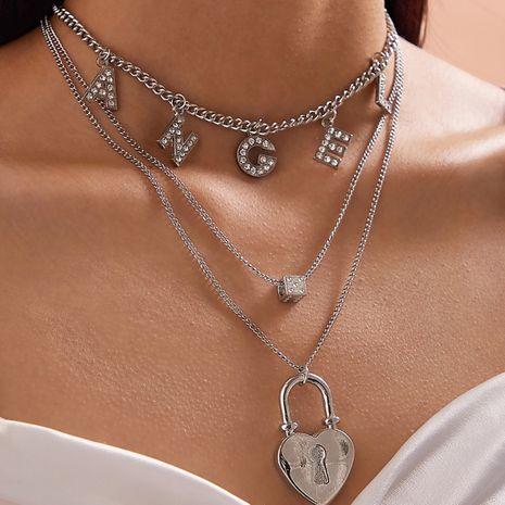 bijoux de mode créatif dés géométrique collier mélanger et assortir simple ange lettre en forme de coeur serrure collier en gros nihaojewelry NHXR221321's discount tags