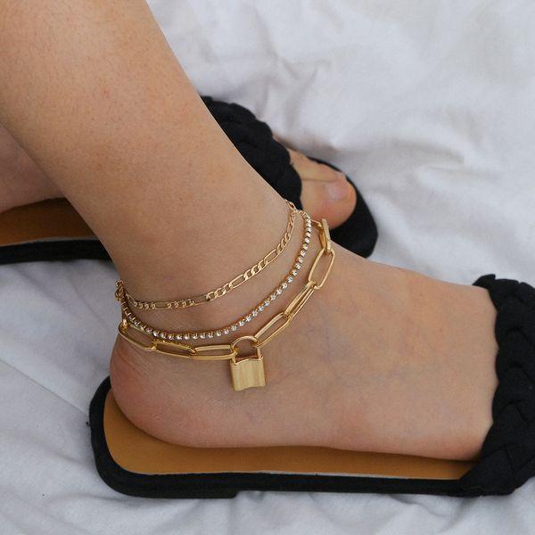 fashion jewelry punk handmade geometric chain footwear fashion lock rhinestone mashup suit anklet wholesale nihaojewelry NHXR221324