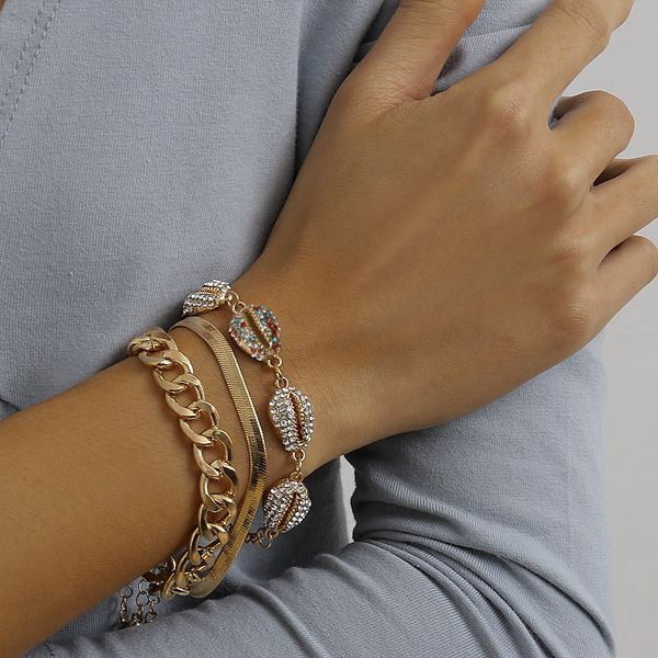 fashion jewelry ocean wind chain mix and match geometric jewelry shell micro-set color rhinestone bracelet wholesale nihaojewelry NHXR221327