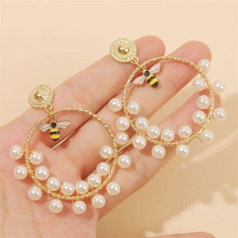 fashion geometric handmade pearl insect bee earrings earring trend round beaded earrings jewelry wholesale nihaojewelry NHLA221328's discount tags