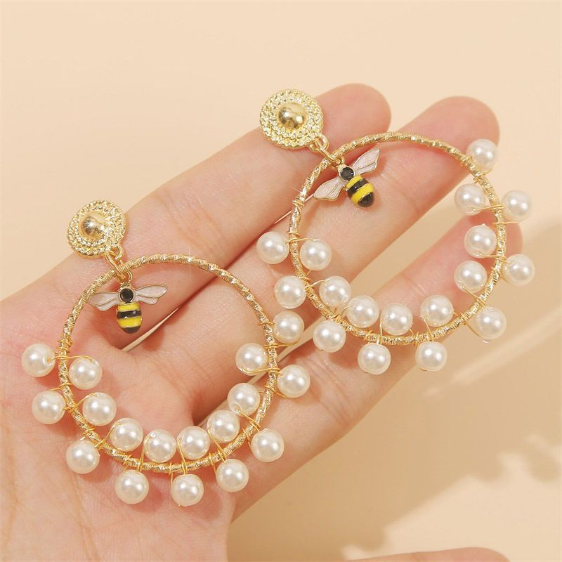 fashion geometric handmade pearl insect bee earrings earring trend round beaded earrings jewelry wholesale nihaojewelry NHLA221328