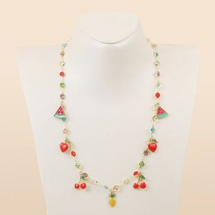 new simple temperament color dripping fruit necklace fashion trend watermelon cherry pendant jewelry wholesale nihaojewelry NHLA221330's discount tags