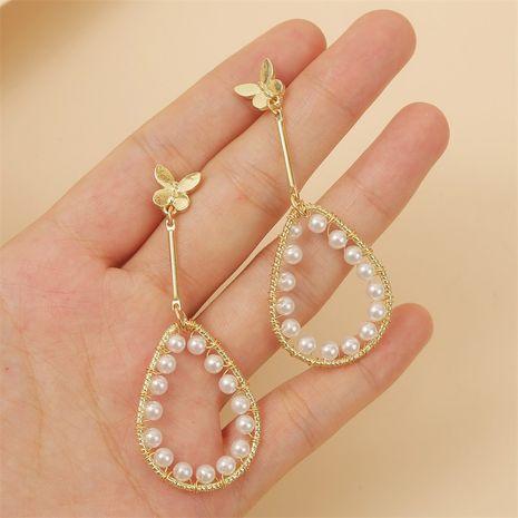 fashion simple temperament geometric water drop pearl butterfly earring Korean trend long earring jewelry wholesale nihaojewelry NHLA221334's discount tags
