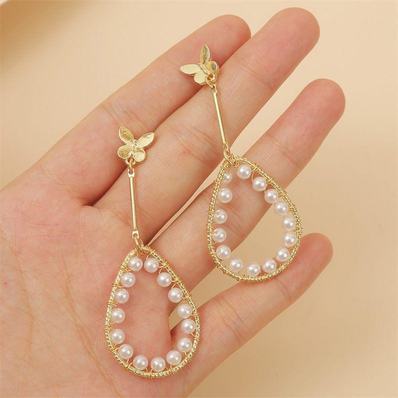 fashion simple temperament geometric water drop pearl butterfly earring Korean trend long earring jewelry wholesale nihaojewelry NHLA221334