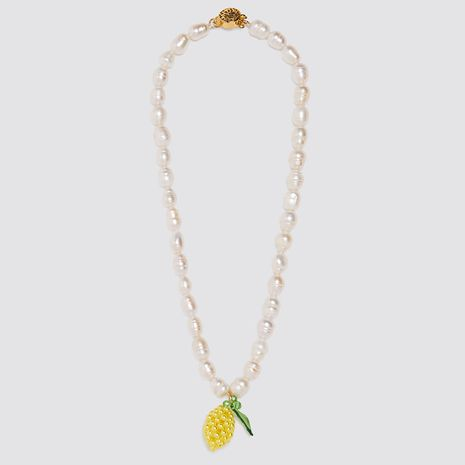 long section hand-woven pineapple pendant pearl necklace Necklace personality fruit pendant jewelry wholesale nihaojewelry NHLA221336's discount tags