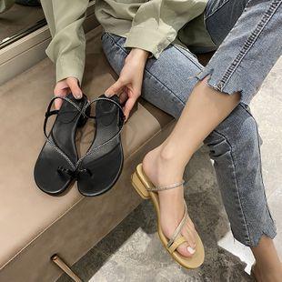 summer two wear diamond belt around the toe set beach wild thick heel fashion sandals women wholesale nihaojewelry NHHU223935's discount tags