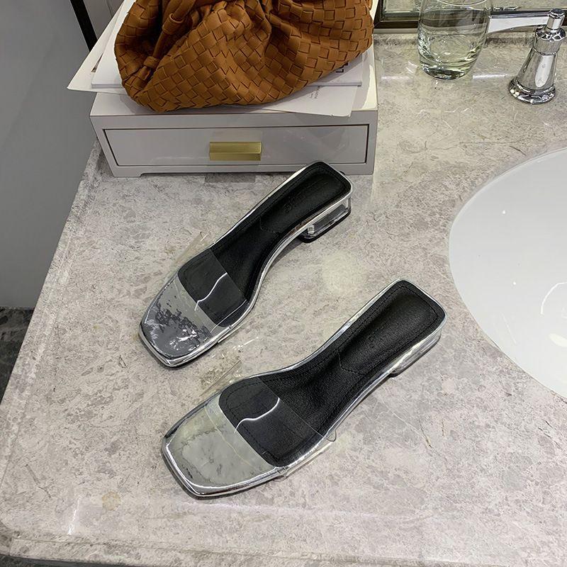 summer new word drag women's shoes transparent belt thick heel open toe slippers wholesale nihaojewelry NHHU223936