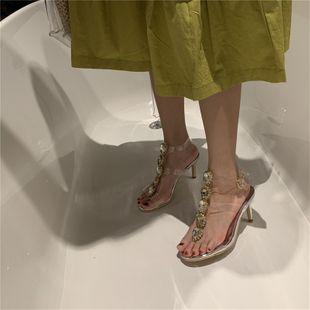 Korean fashion new transparent thin belt rhinestone T-shaped buckle sexy fairy sandals wholesale nihaojewelry NHHU223939's discount tags