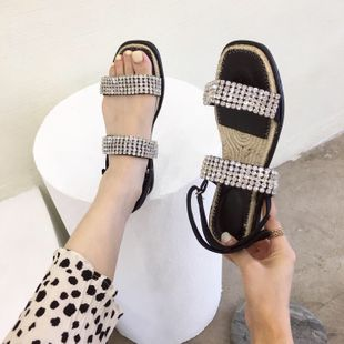 Korean summer new fashion wild rhinestone hemp rope fisherman sandals flat non-slip women's shoes wholesale nihaojewelry NHHU223952's discount tags