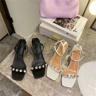 Fairy style summer word buckle thick heel square head open toe rhinestone sandals temperament wild high heels wholesale nihaojewelry NHHU223955's discount tags