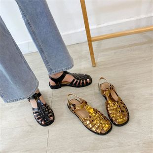 summer British woven baotou Roman sandals chic female hollow casual flat beach shoes wholesale nihaojewelry NHHU223956's discount tags