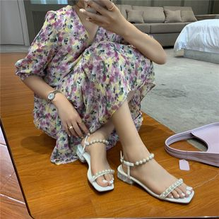 thick heels summer new wild pearl fairy style square head open toe women's shoes wholesale nihaojewelry NHHU223957's discount tags