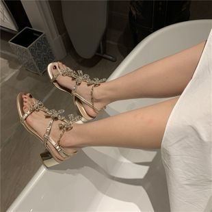 Sandals fairy style thick heel Roman shoes summer open toe middle heel crystal bow rhinestone women's shoes wholesale nihaojewelry NHCA223966's discount tags
