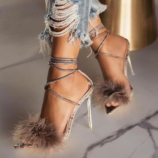 summer feather straps Roman transparent crystal high heel pointed pointed heel sandals wholesale nihaojewelry NHCA223969's discount tags