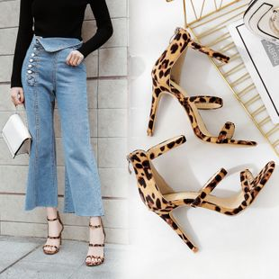 summer new women's shoes with thin heels and three thin lines with exposed toes sexy high-heeled Roman sandals wholesale nihaojewelry NHCA223970's discount tags