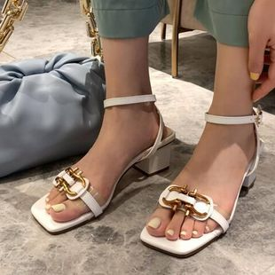 New wild transparent word buckle with thick heeled open toe high heels sandals summer fairy style wholesale nihaojewelry NHCA223971's discount tags