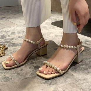 summer new open-toed simple pearl hollow fairy chic middle heel Roman shoes women's shoes wholesale nihaojewelry NHCA223973's discount tags