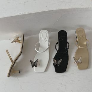Bow sandals new high-heeled fine-heeled fairy wild summer clip toe rhinestone sandals and slippers wear wholesale nihaojewelry NHCA223975's discount tags