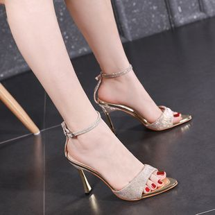 Sandals fairy spring and summer new word buckle high heels fine with sexy wild wholesale nihaojewelry NHCA223977's discount tags