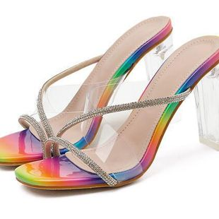 new transparent crystal with color snake pattern rhinestone high heel cool off wholesale nihaojewelry NHCA223979's discount tags