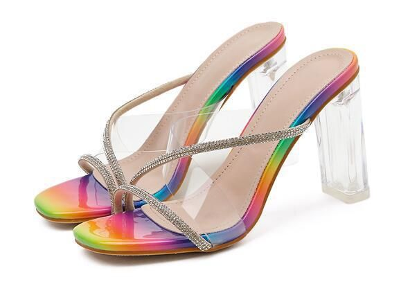 new transparent crystal with color snake pattern rhinestone high heel cool off wholesale nihaojewelry NHCA223979