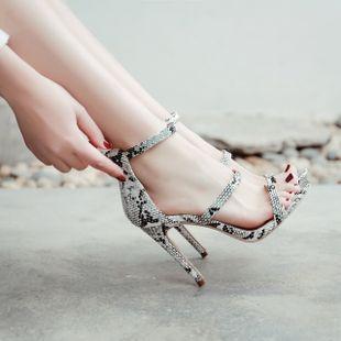 summer high-heeled nightclub sexy snakeskin strap high-heeled Roman sandals wholesale nihaojewelry NHCA223981's discount tags