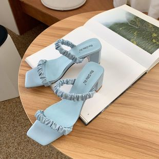summer fashion pleated thin belt square head thick heel and slippers with a word-style wild sandals wholesale nihaojewelry NHCA223982's discount tags