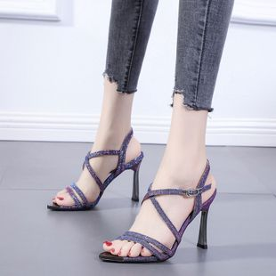 summer new thick heel thin belt high-heeled sandals Korean version of the wild nightclub sexy women's shoes wholesale nihaojewelry NHCA223985's discount tags