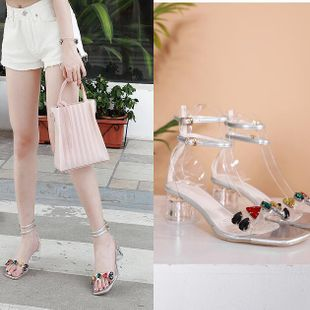 Mid heel crystal and summer new wild sexy word with open toe bright diamond color rhinestone high heel sandals wholesale nihaojewelry NHCA223988's discount tags