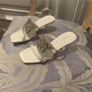 Sandals spring and summer new letters rhinestone square head high heels women thin and wild word with sandals and slippers women wholesale nihaojewelry NHCA223993's discount tags