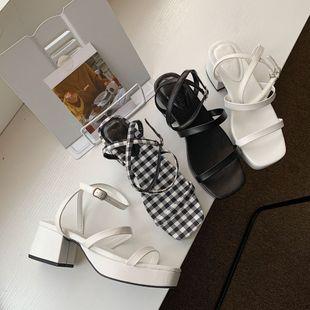Korean fashion sandals women summer new simple thin belt buckle waterproof platform thick heeled heel shoes wholesale nihaojewelry NHCA223994's discount tags