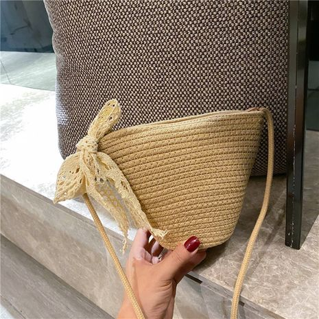summer new woven bucket small bag Korean straw bag casual shoulder messenger simple vacation beach bag wholesale nihaojewelry NHGA224034's discount tags